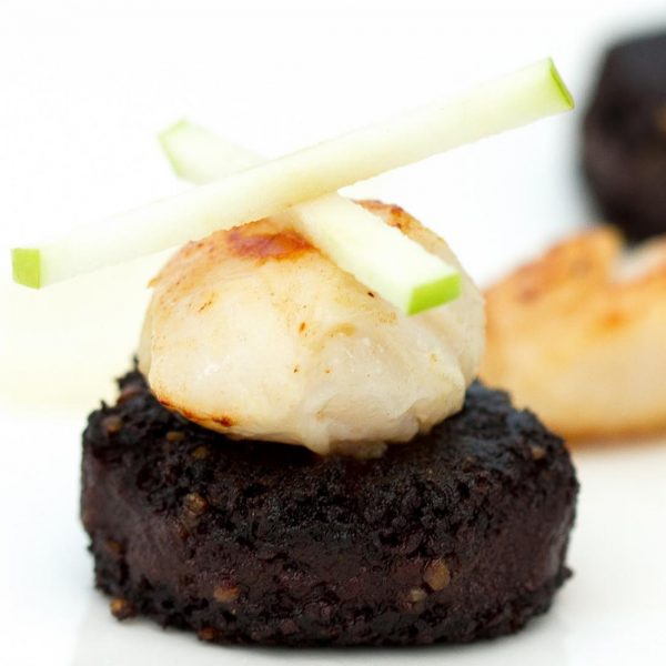 Black pudding, scallop and apple